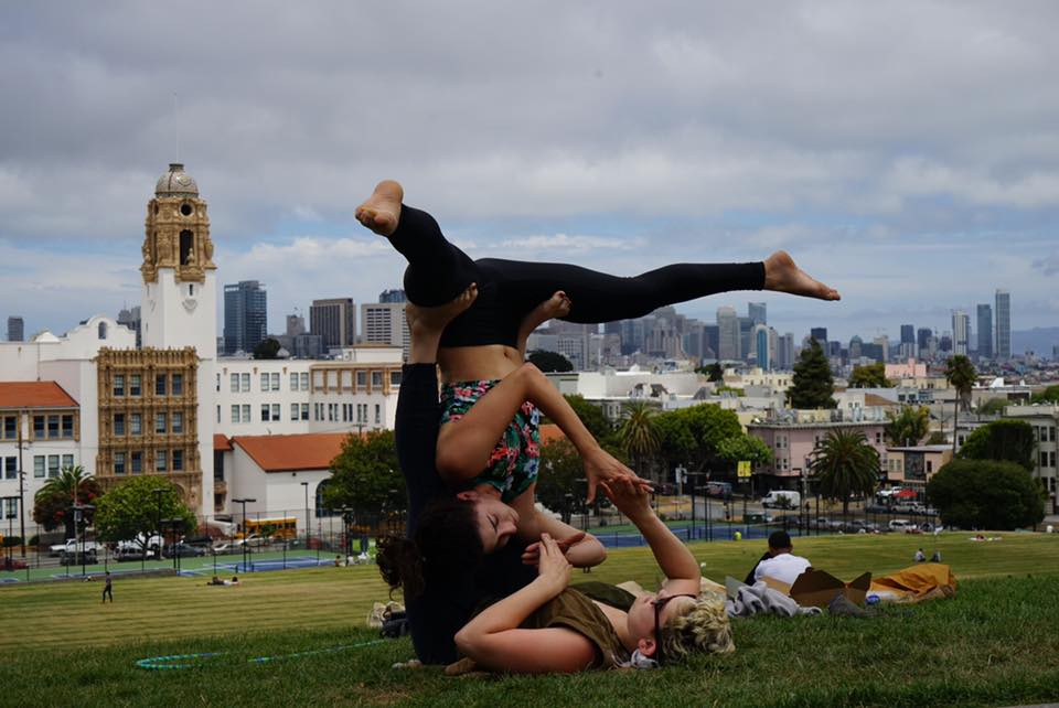 one fell swoop away from a hug in Delores Park, San Francisco