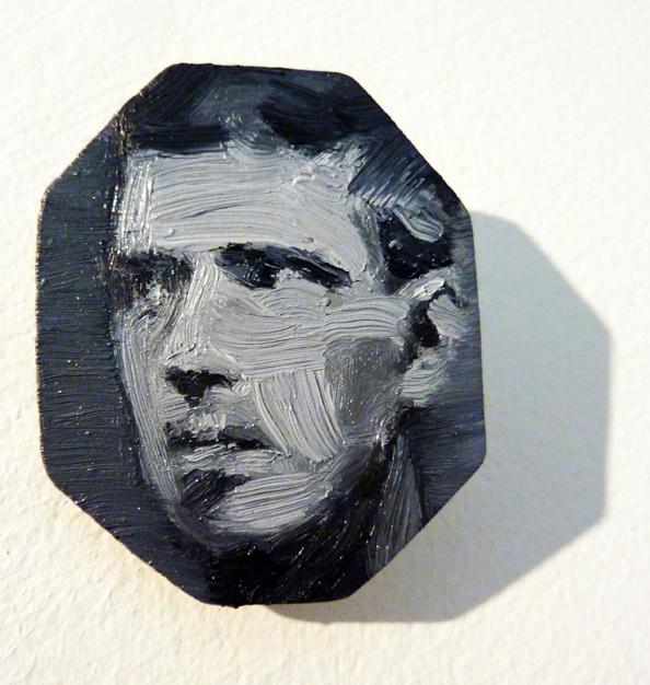 Face like flint,  2014 Oil on aluminium - brooch 3 x 2.5 cm