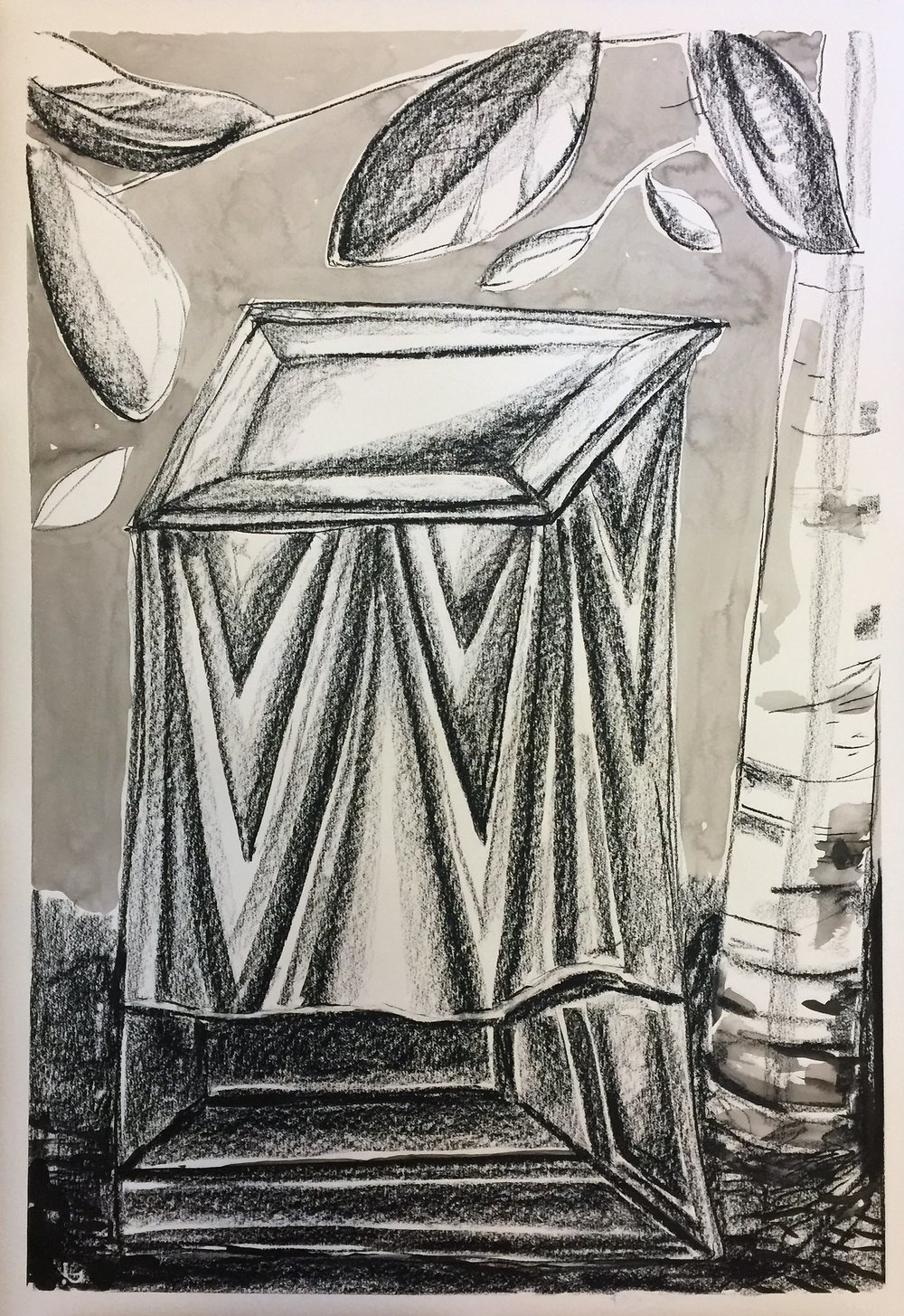 Altar, 2017 Ink and charcoal on paper 76 x 65.5 cm