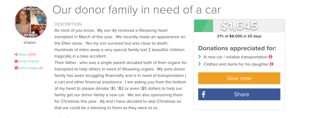 To help this deserving family get a car go to the  Give Forward page .