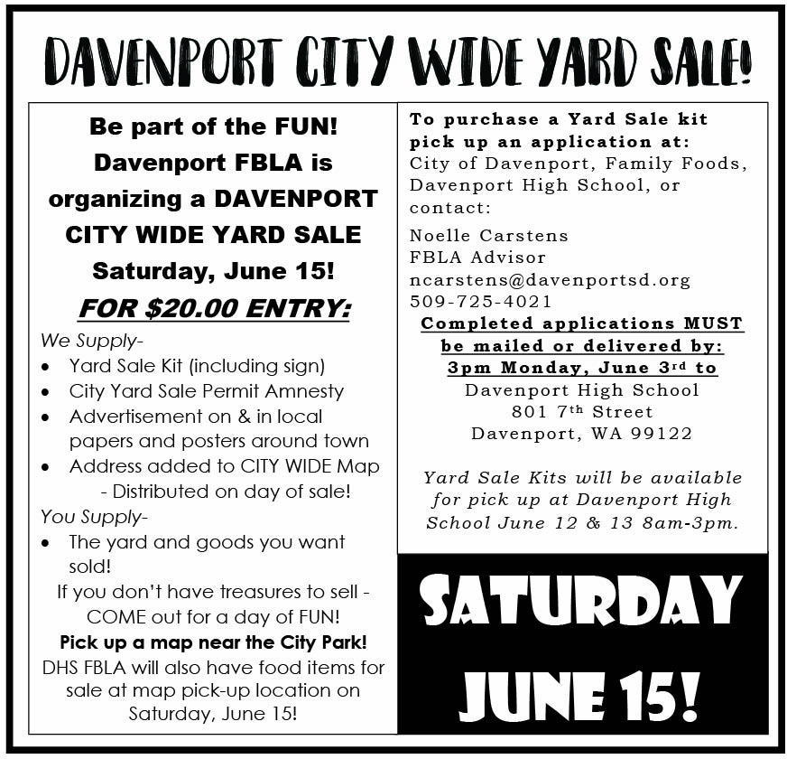 Davenport City Wide Yard Sale — The Lincoln Advertiser