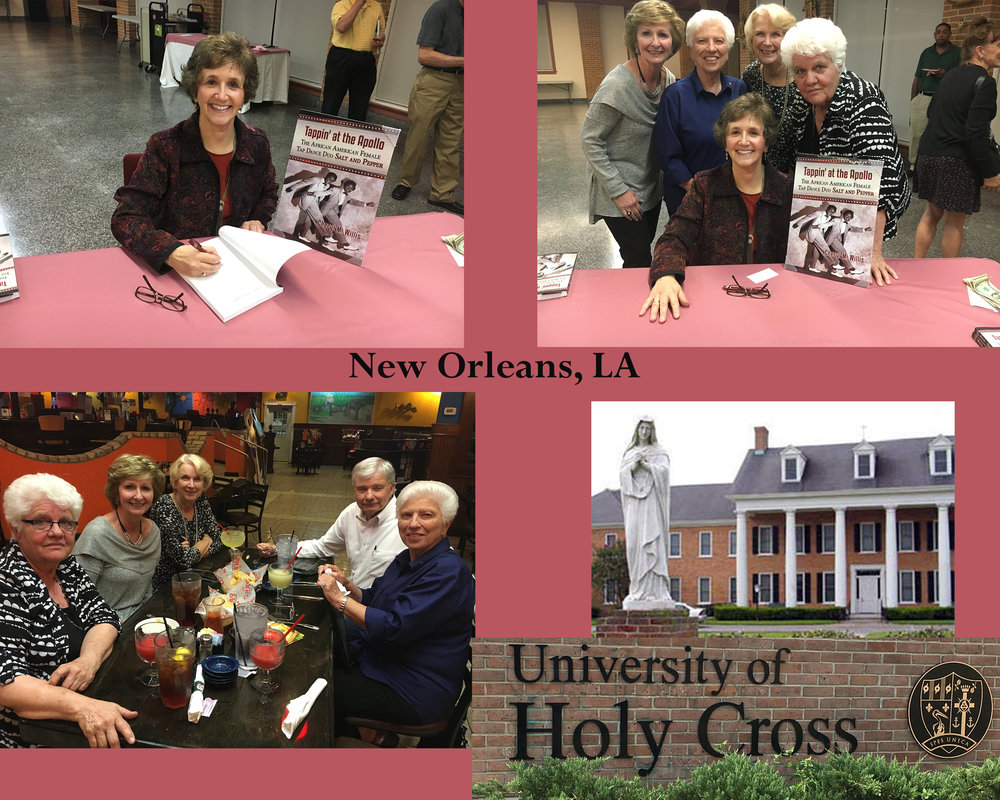 Book Launch at University of Holy Cross, New Orleans sponsored by the Marianites of Holy Cross, Librarian Diane Schaubhut and Friends of the Library.. Julie Hendrick, Sister Rochelle Pierrier, Harold and Mary Faith MaGee, and JoAnna Russo.  October 2016