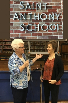Principal JoAnna Russo welcomes Dr. Cheryl Willis to her school. Willis presented to the 5th-7th grades. The kids were so inspired that when the assembly was completed they spontaneously tap danced out of the gym.  October 2016