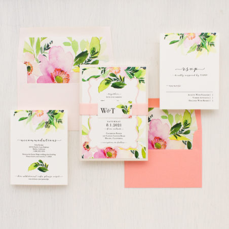Beacon Lane - blush and coral floral - blush cactus wedding invitation