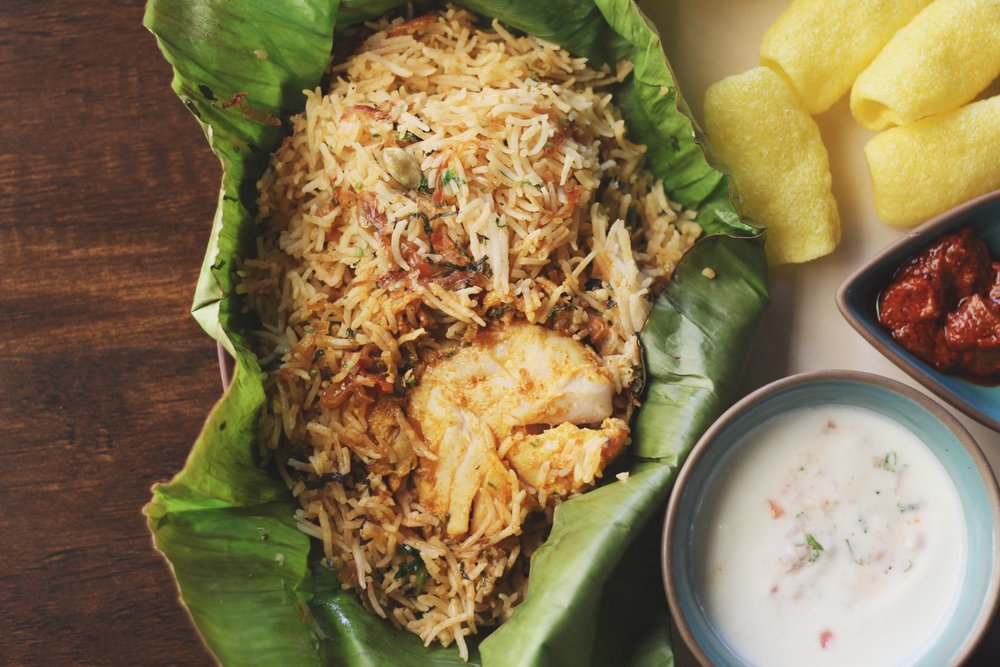 Swim off in that seafood biryani.