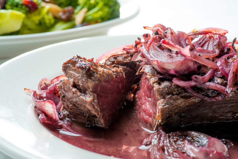 Filet Mignon with shallot and red wine sauce