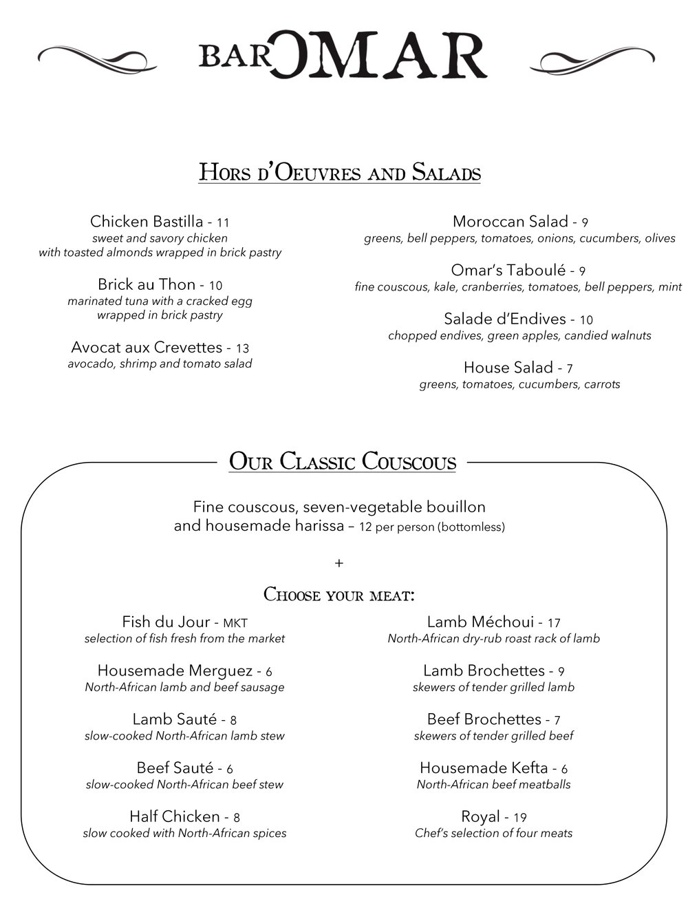 lunch and dinner Bar Omar Brooklyn menu