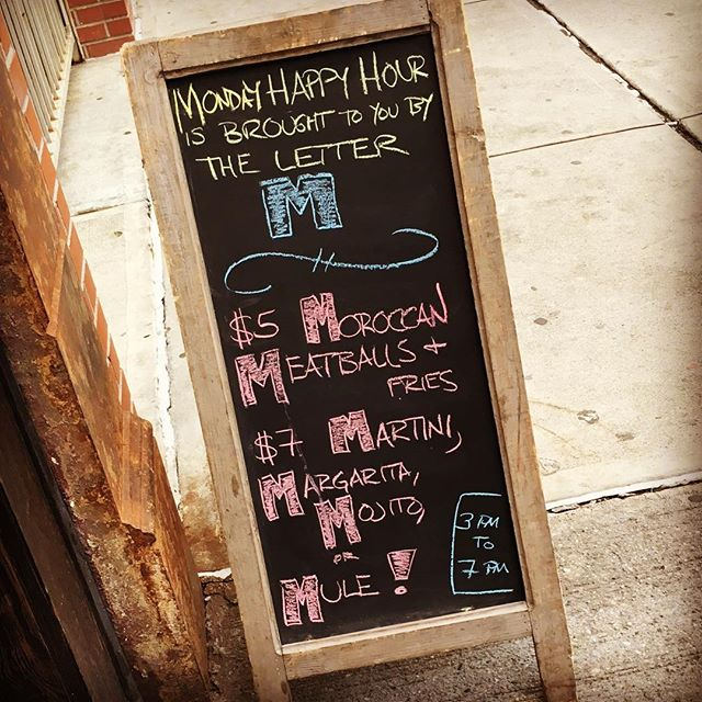 #HappyHour Monday! 🍹 ~~~~~~~~~~~~~~~~~~~~~~~~| #mixology  #brooklyn #brooklynbars #nybars #nycbars #Williamsburg #drinks🍹 #drinkporn #drinkoftheday #drinkersparadise #margarita #martini #mojito #mule #cocktails #cocktail #cocktailoftheday #cocktailbar #winebar #moroccanfood #algerianfood #kefta #nomnom