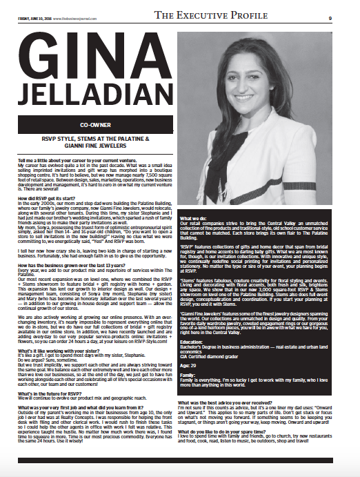 The Business Journal Executive Profile Gina Jelladian