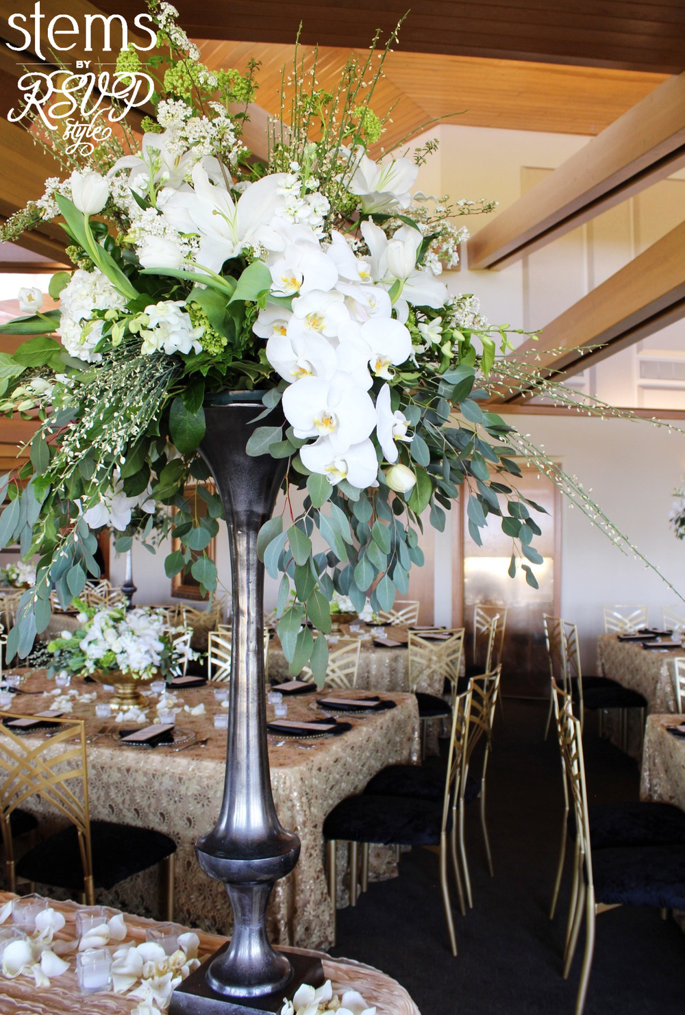 Reception floral arrangement table decor/centerpiece