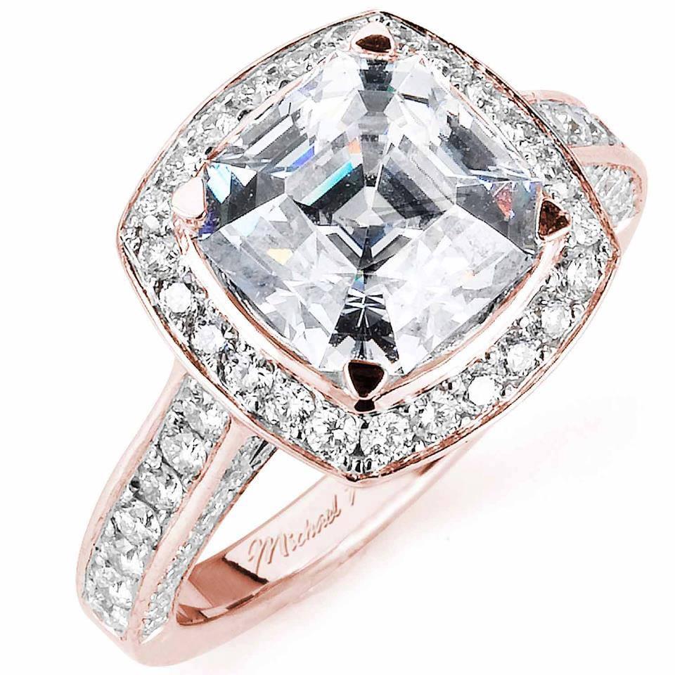 18K Rose Gold, featuring an Asscher cut center diamond and glittering pave.