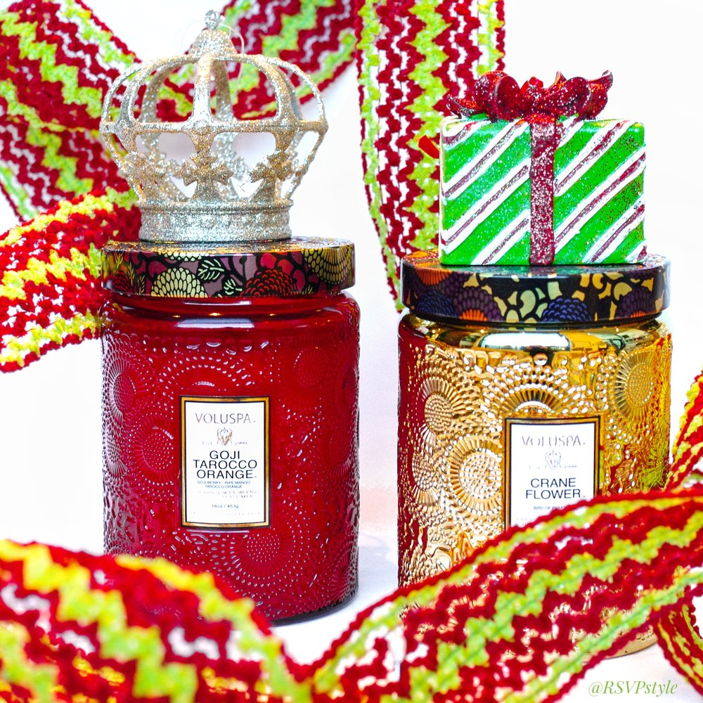 Voluspa Candle paired with Christmas Ornament