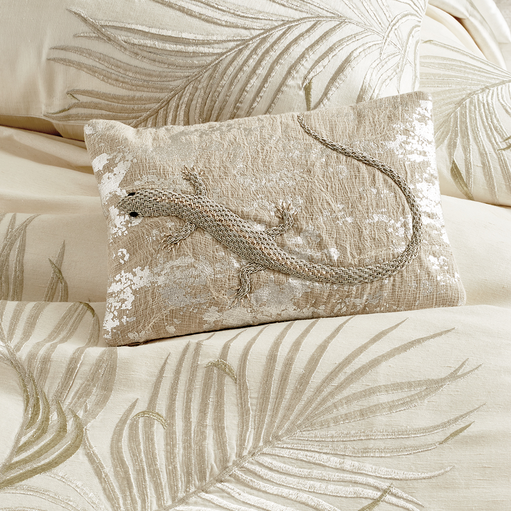 Palm Lizard Decorative Pillow