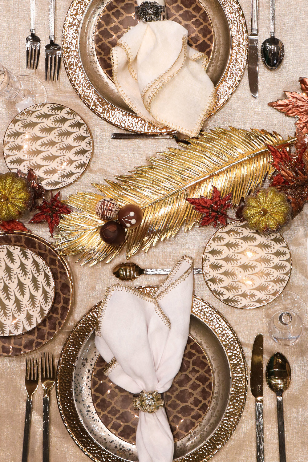 Gold Feather Holiday table setting rsvp style