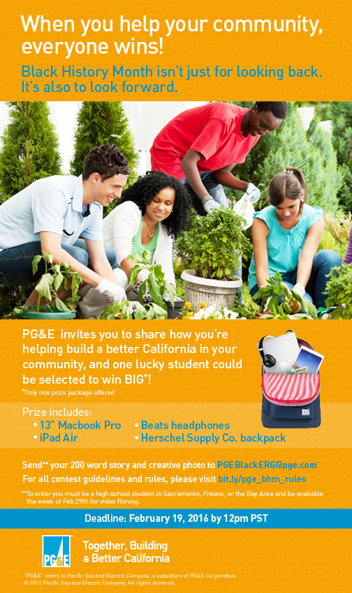 PG&E Black History Month Palm Card Flyer