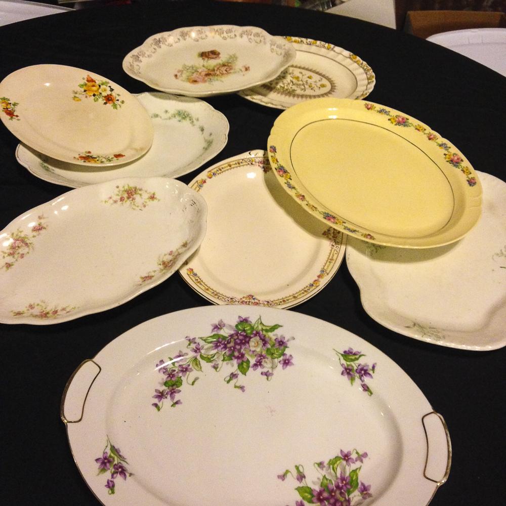 large floral serving platters