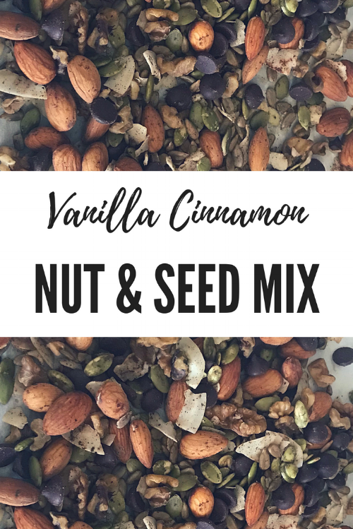 Vanilla Cinnamon nut and seed mix pinterest graphic