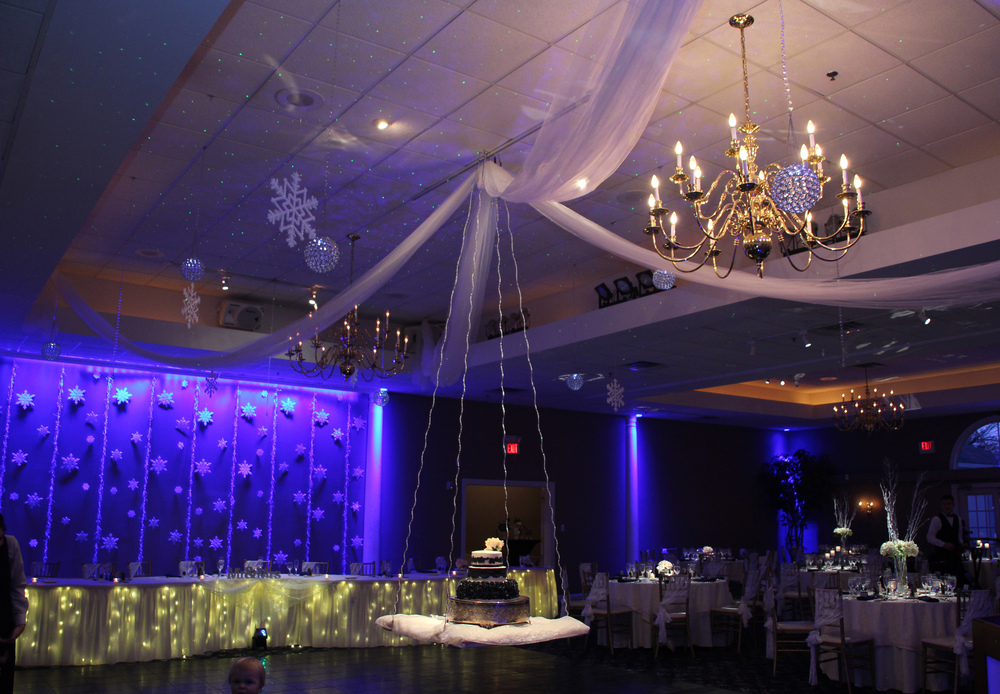 Snowflakes and Crystal globes with tulle and hanging cake