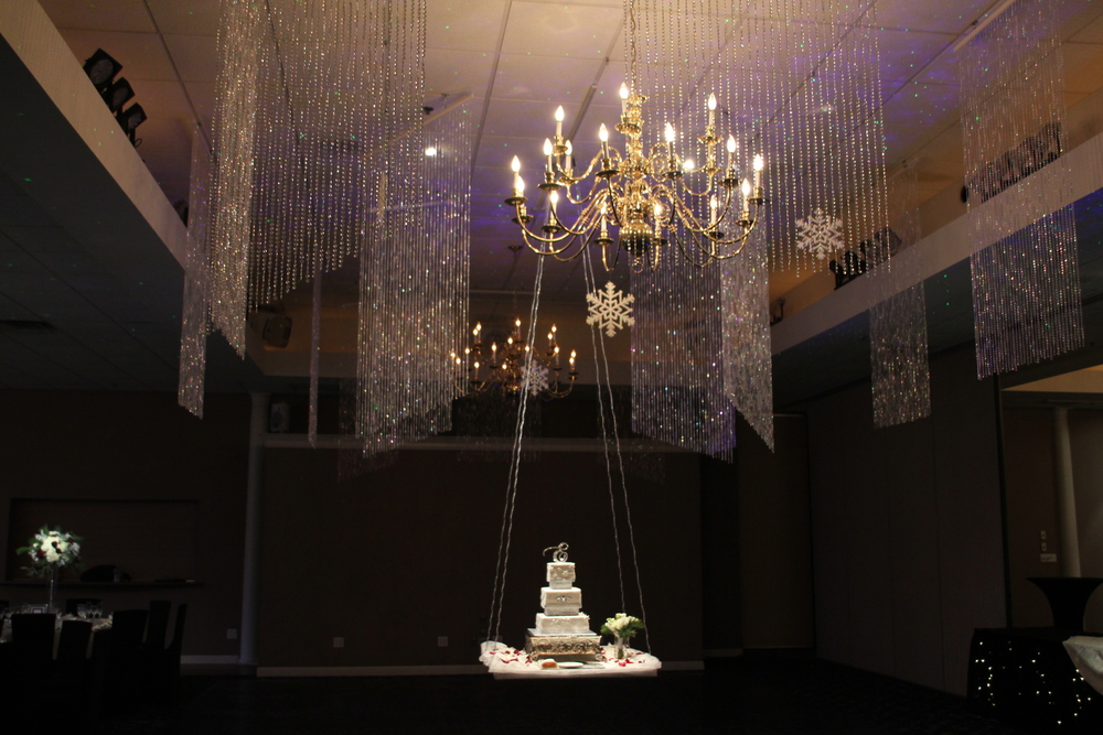 Crystal Curtains with hanging cake