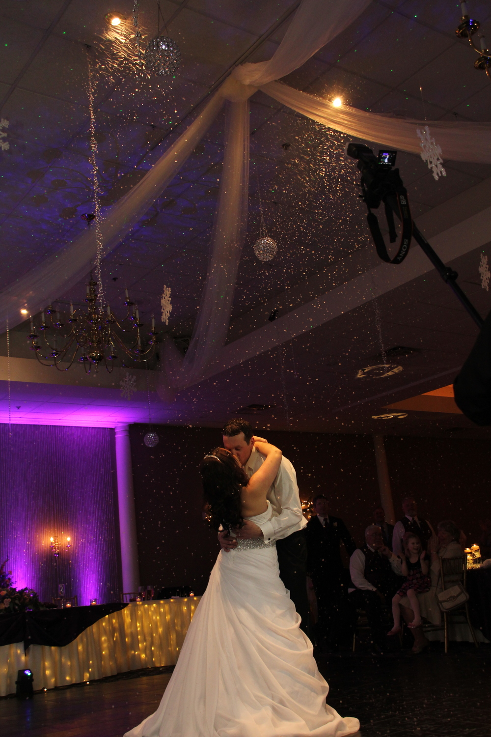 Crystals and Candles ceiling with tulle and First Dance Snow!
