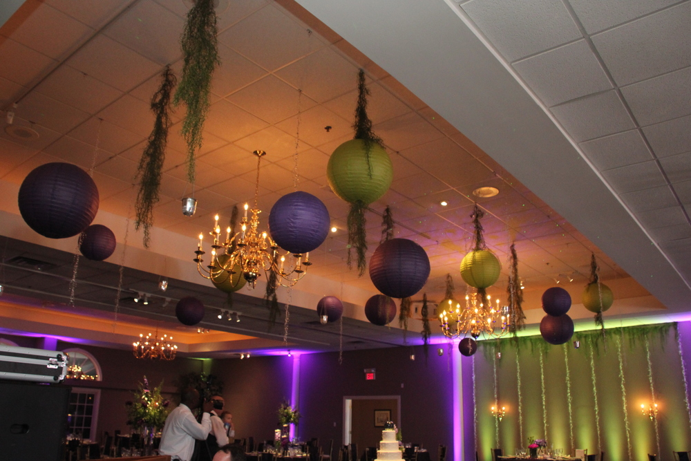 Purple and Green Asian lantern ceiling with draping moss and crystal strand backdrop with moss