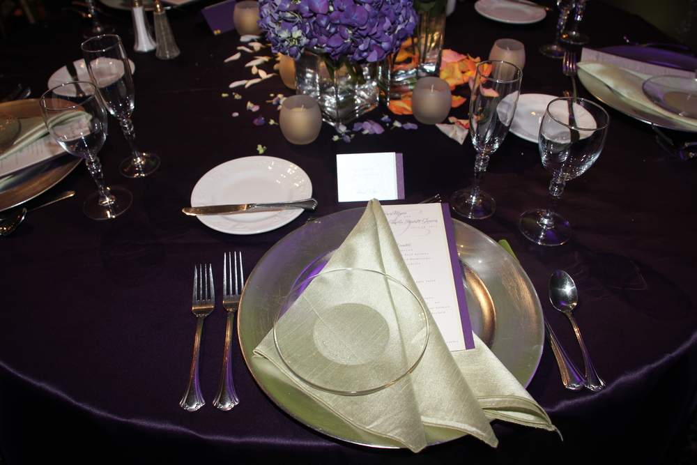 Purple Satin with Gold Charger Plates (+ Envelopments Menu Cards)