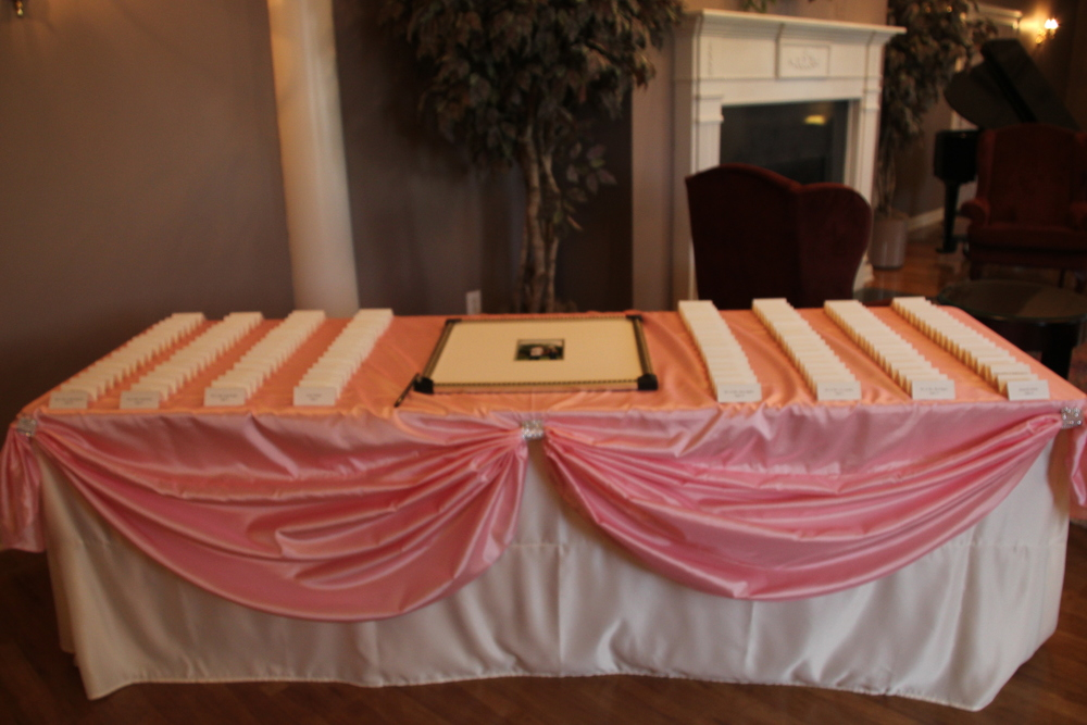 Pink Satin Placecard table