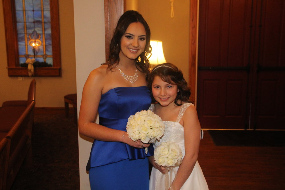 Kari's beautiful girls were her bridesmaids and her oldest escorted her down the aisle.