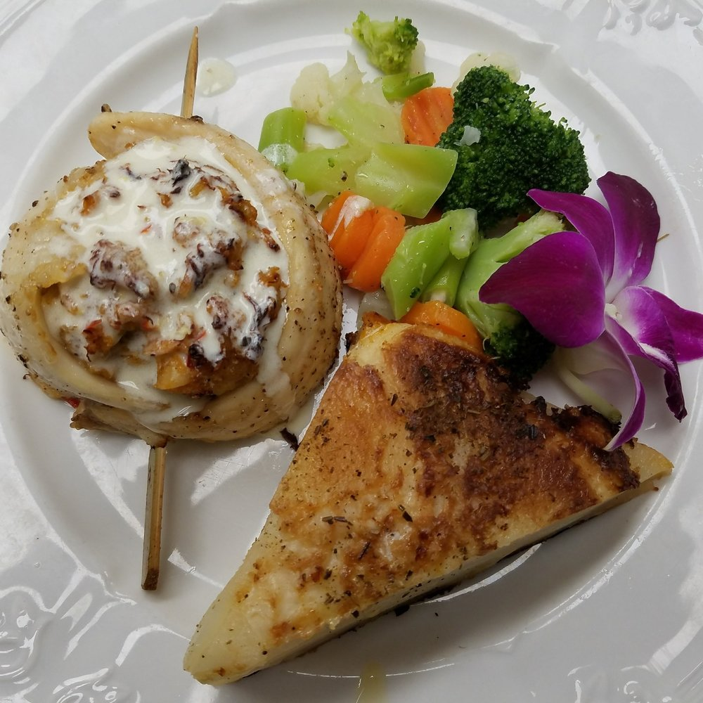 Crab-Stuffed Tilipia with Au Gratin Potatoes