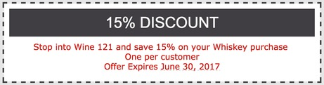 15% off all Whiskies until June 30th
