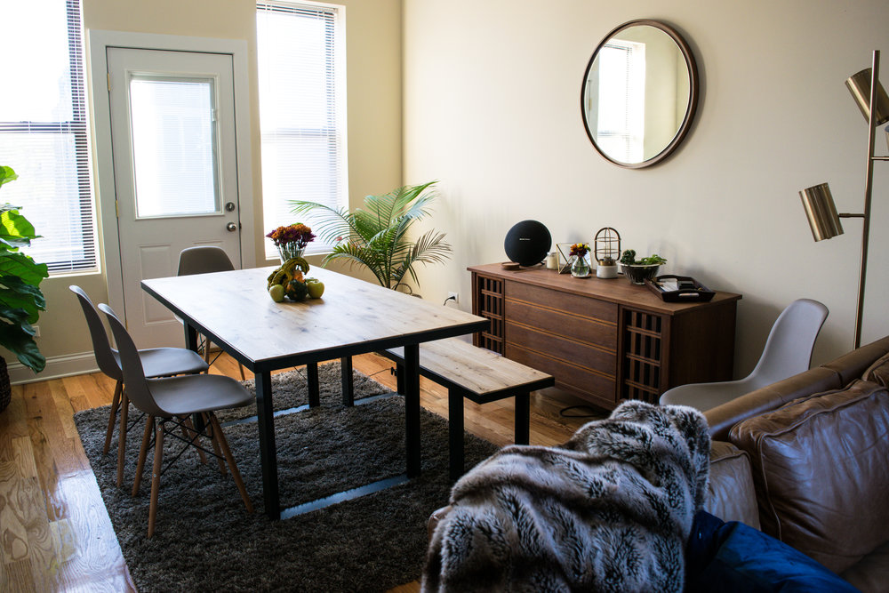 West Elm: Industrial Dining Bench // West Elm: Industrial Table // Amazon: Chairs // West Elm: Floating Mirror // West Elm: Faux Fur Throw // West Elm: Mini Industrial Cage Lamp // CB2: Floor Lamp