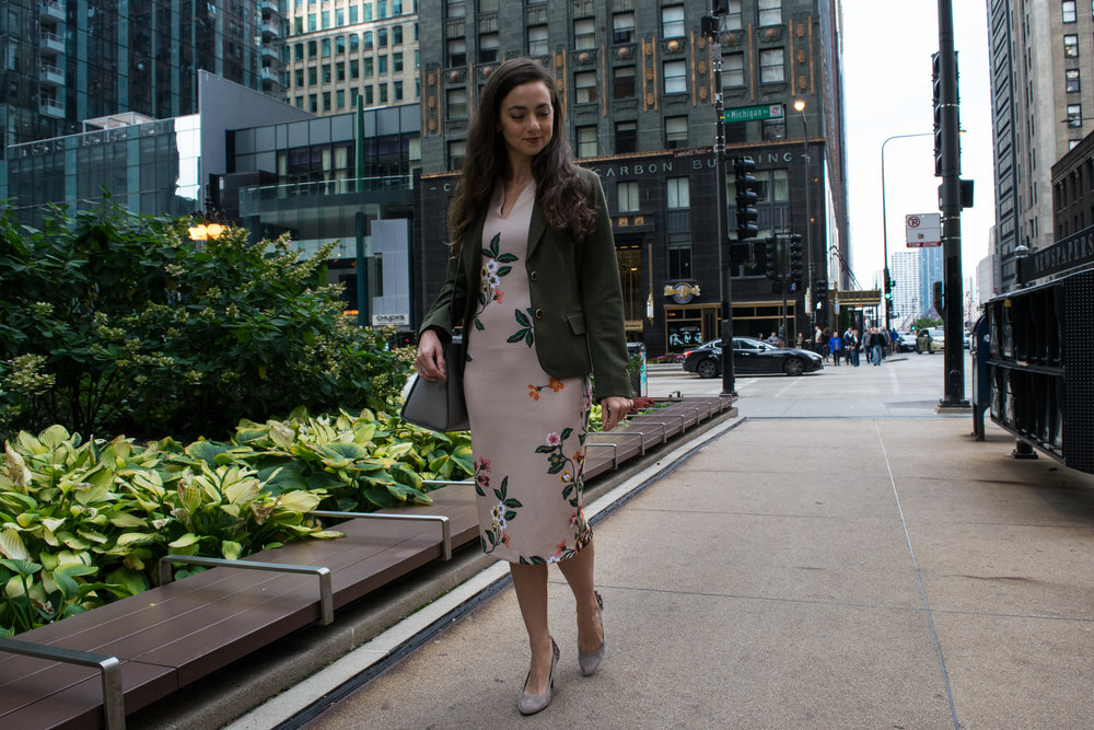 New York & Company:  Floral Sheath Dress  // New York & Company:  Olive Blazer  // New York & Company:  Grey Handbag  // Pom Pom Keychain-  Similar Here  // DSW: Pumps -  Similar Here  and  Here