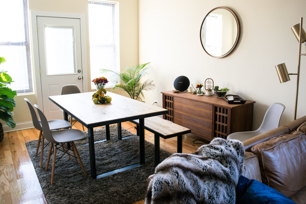 West Elm:  Industrial Table  // West Elm:  Industrial Bench  // Amazon:  Mid-century Modern Chairs  // Antique Sideboard -  Similar Here  // West Elm:  Terrarium  // West Elm:  Mirror  // CB2:  Floor Lamp  // CB2:  Bud Vase