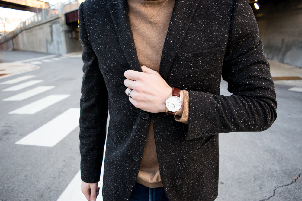 Topman:  Speckle Blazer, similar here  // MVMT:  Rose Gold/Brown Leather Watch  // H&M:  Merino-blend Sweater