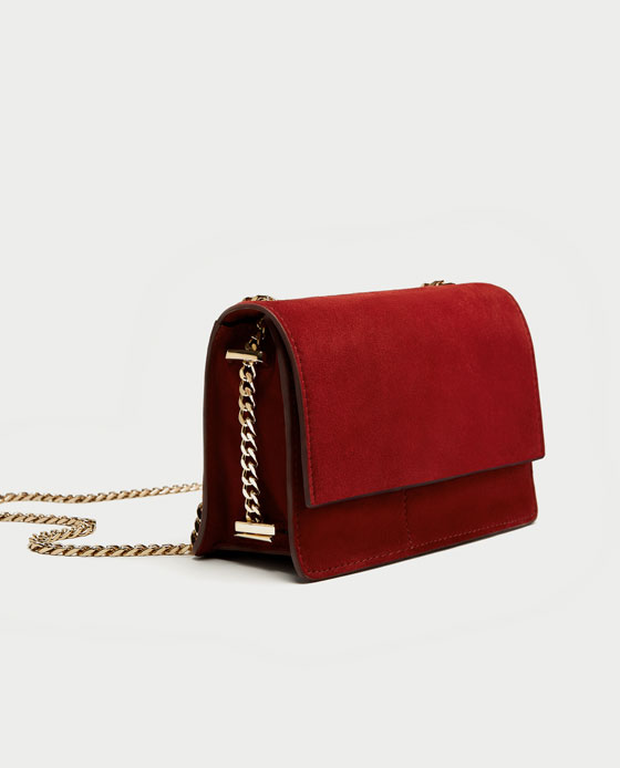 zara suede crossbody with gold chain  - The ultra-rich hue of this bag screams FALL to me! This one is definitely at the top of my list.