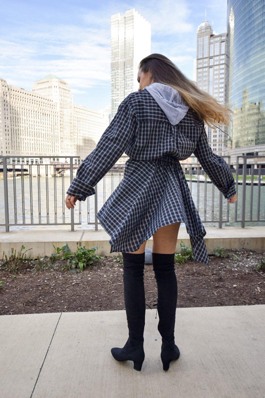 checkered-hoodie-dress