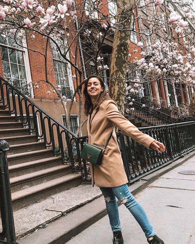 """When we booked our flights to New York we weren't sure we'd get to see any blooms, but turns out it's been an early Spring this year and we're HERE FOR IT!! Daniel is a saint for putting up with my constant """"oh my gosh- did you see that tree?! Ooooooh daffodils!"""" 🤣 #SoExtra  When 2019 started, we took a look at our lives and realized there was very little space for """"stopping to smell the flowers"""" and we knew we needed to step back from certain things to reprioritize our community and direction in life. The break from Instagram was so refreshing for us. While this account may look different going forward compared to what it has been over the past couple of years, we are still excited to continue sharing snippets of our life together ❤️ Thanks for continuing to follow along! ❤️ . . #newyork #topshopstyle #prada #womenwithstyle #americanstyle #ootdfash #springblooms #nyc #streetstyle"""