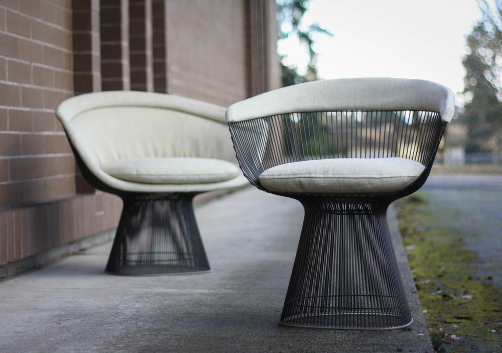 Platner Chair warren platner for knoll lounge and side chair in bronze — mid and mod