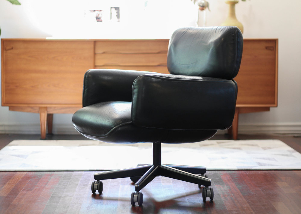 Designed In The 1970u0027s For Knoll, This Otto Zapf Desk Chair Is As Comfy As  It Looks With Large Pillow Like Cushions Upholstered In Original Black  Upholstery ...