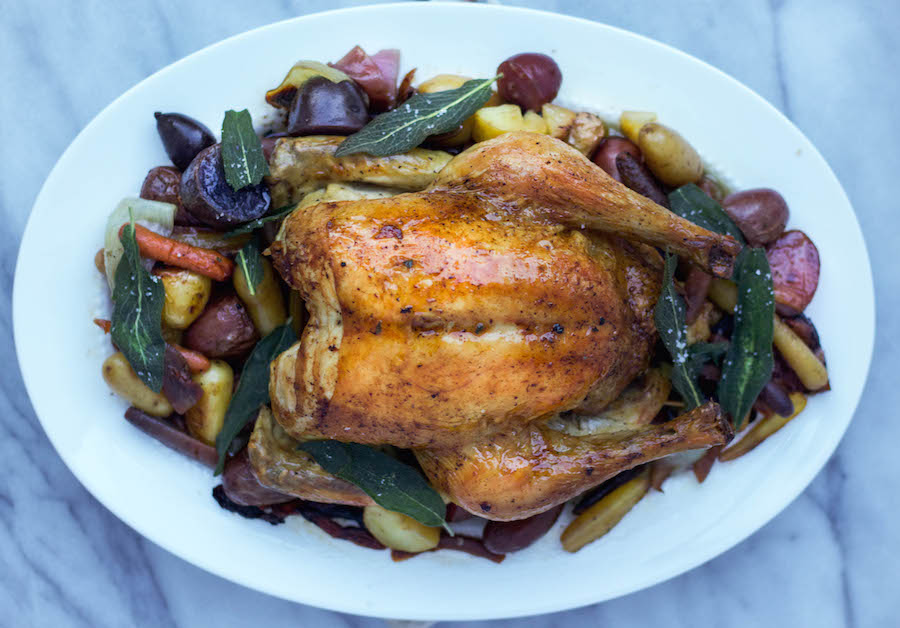 Roast Chicken with Carrots and Crispy Sage