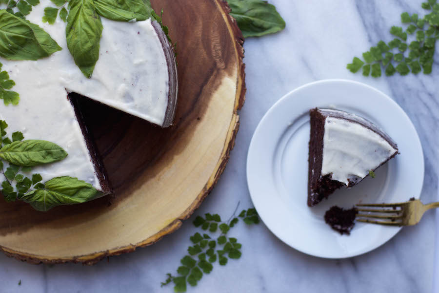 Chocolate Basil Cake with Mascarpone Frosting