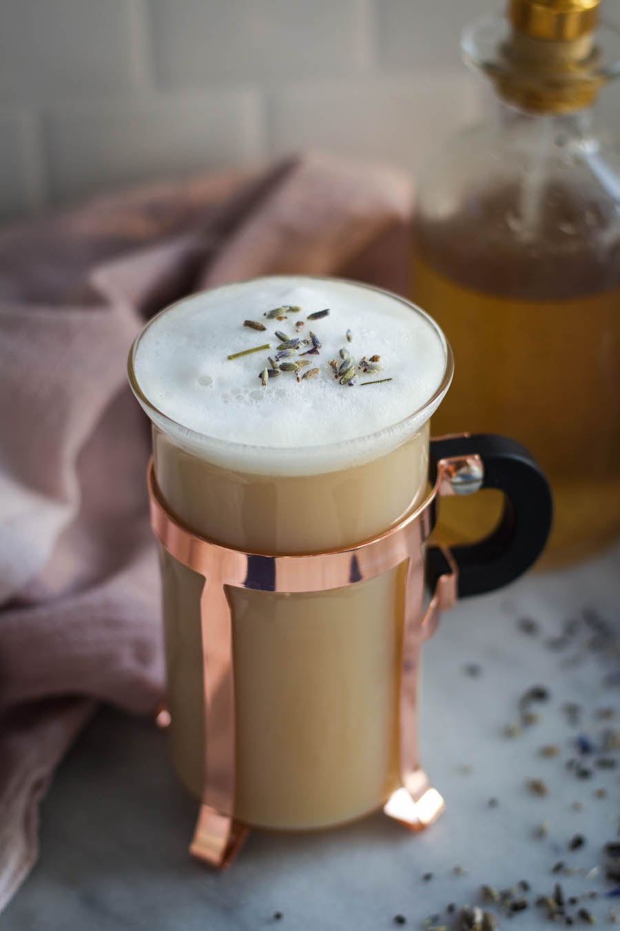 Earl Grey Latte with Lavender Vanilla Bean Syrup