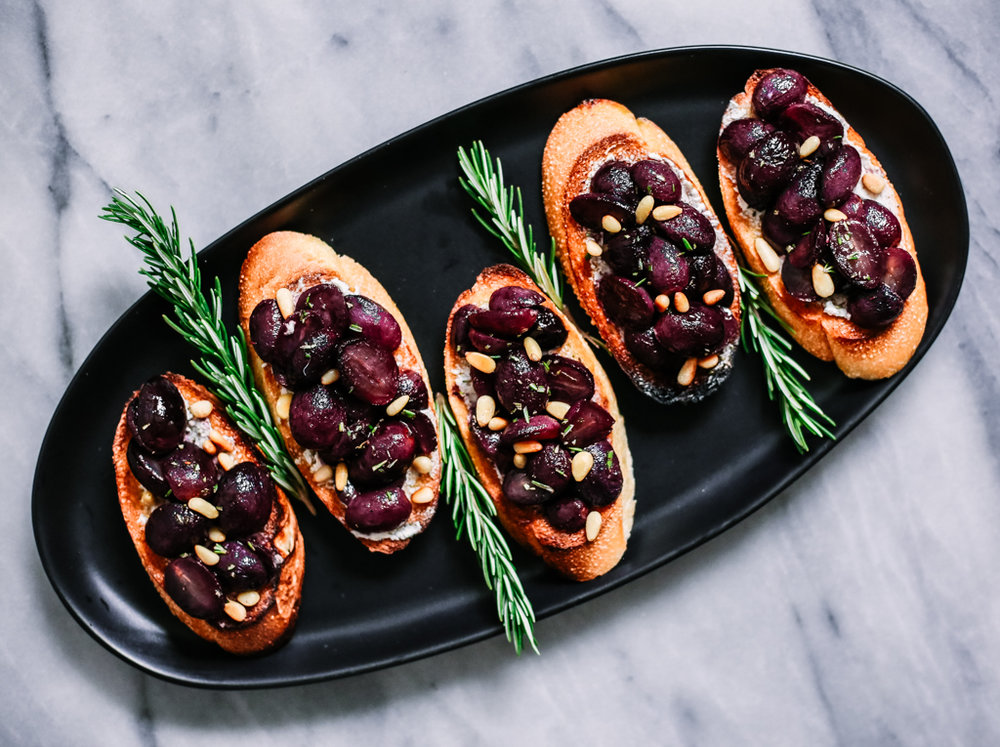 Roasted Grape Crostini