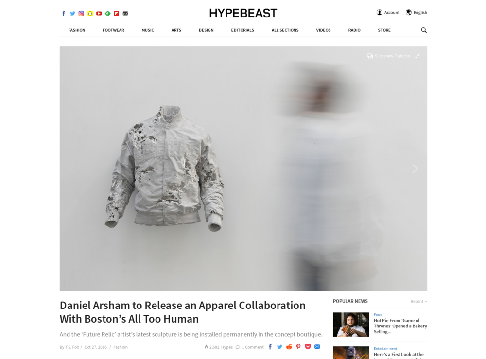 Hypebeast, October 27, 2016