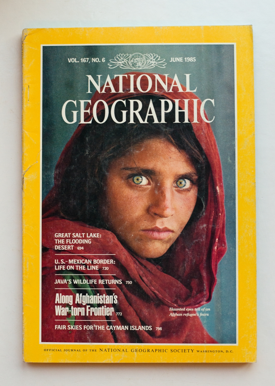 Katie G. Nelson found a well-preserved copy of this famous National Geographic issue in Kenya, about the same time the cover subject was being arrested in Pakistan.