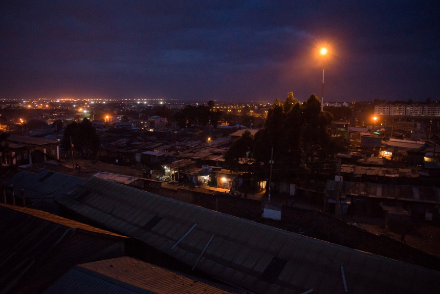 Night falls on Kibera, an informal settlement in Nairobi, Kenya. Much of the 2007/2008 post-election violence occurred in and around Kibera. Tonight, it is quiet. Katie G. Nelson