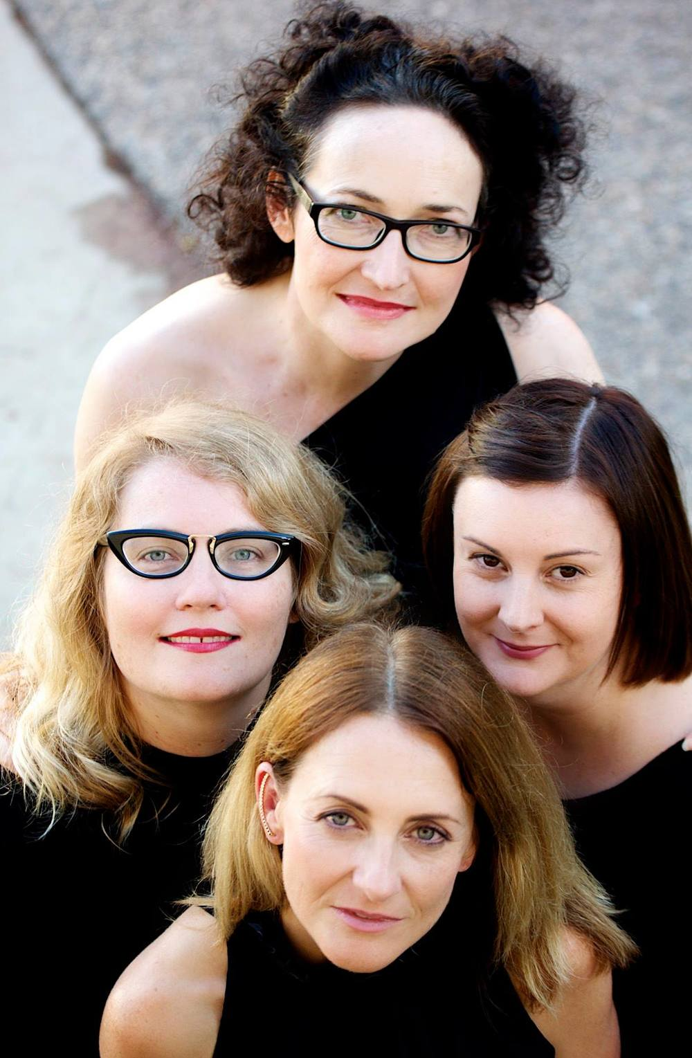 Top: Katherine Lyall-Watson (writer); Left: Kathryn Kelly (dramaturg); Right: Danielle Shankey (producer); Front:Caroline Dunphy (director and performer).