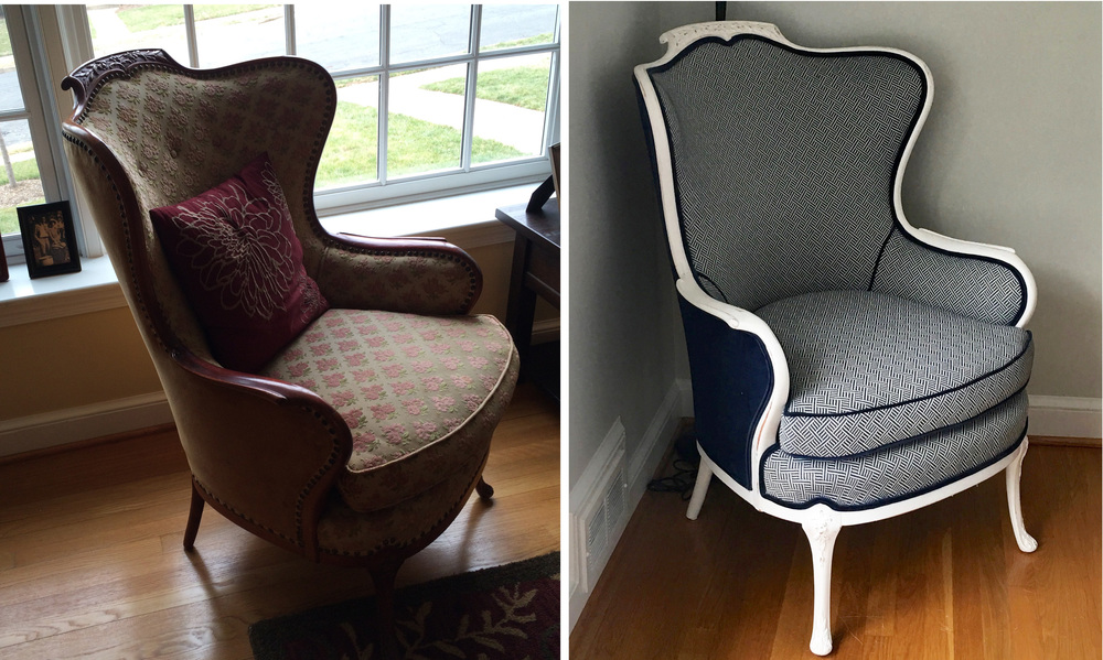 A Robert Allen fabric was selected for the front of the chair and a coordinating velvet was perfect for the piping and back.