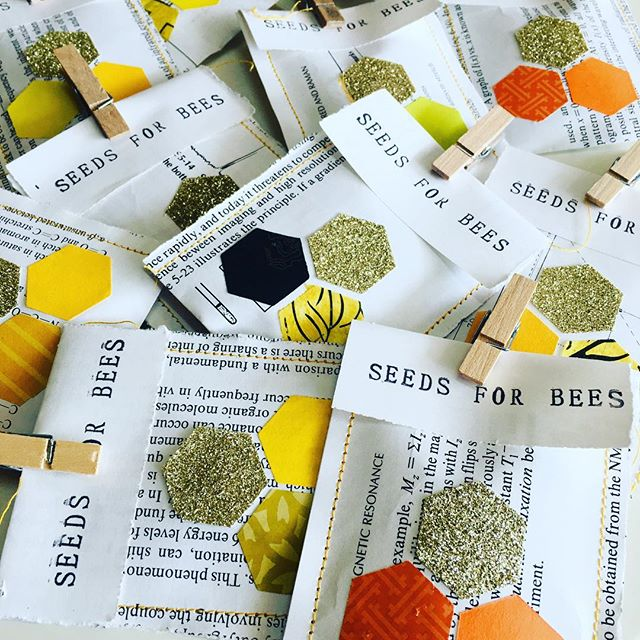 Little packets of #sunflower love for @adelaidebeesanctuary #savethebees #seedsforbees #collageartist #beesneedflowers
