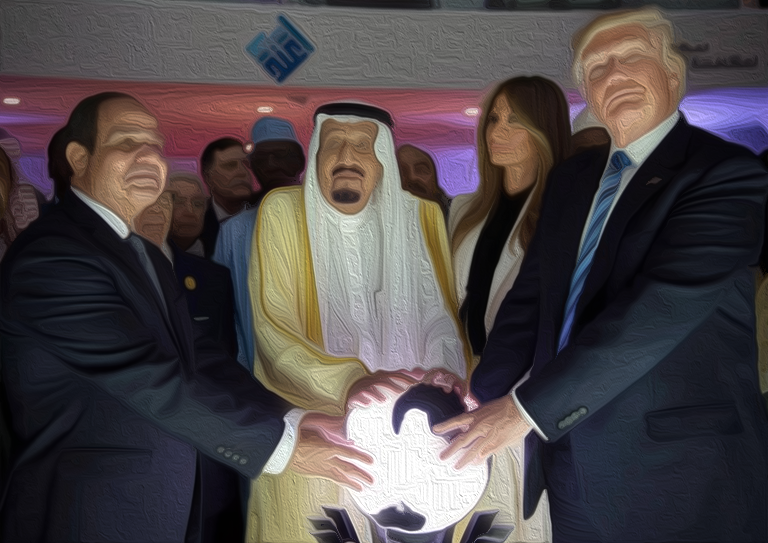 President Abdel Fattah el-Sisi of Egypt, King Salman of Saudi Arabia, Melania Trump and President Trump during the opening of an anti-extremist center in Riyadh, Saudi Arabia. Saudi Press Agency